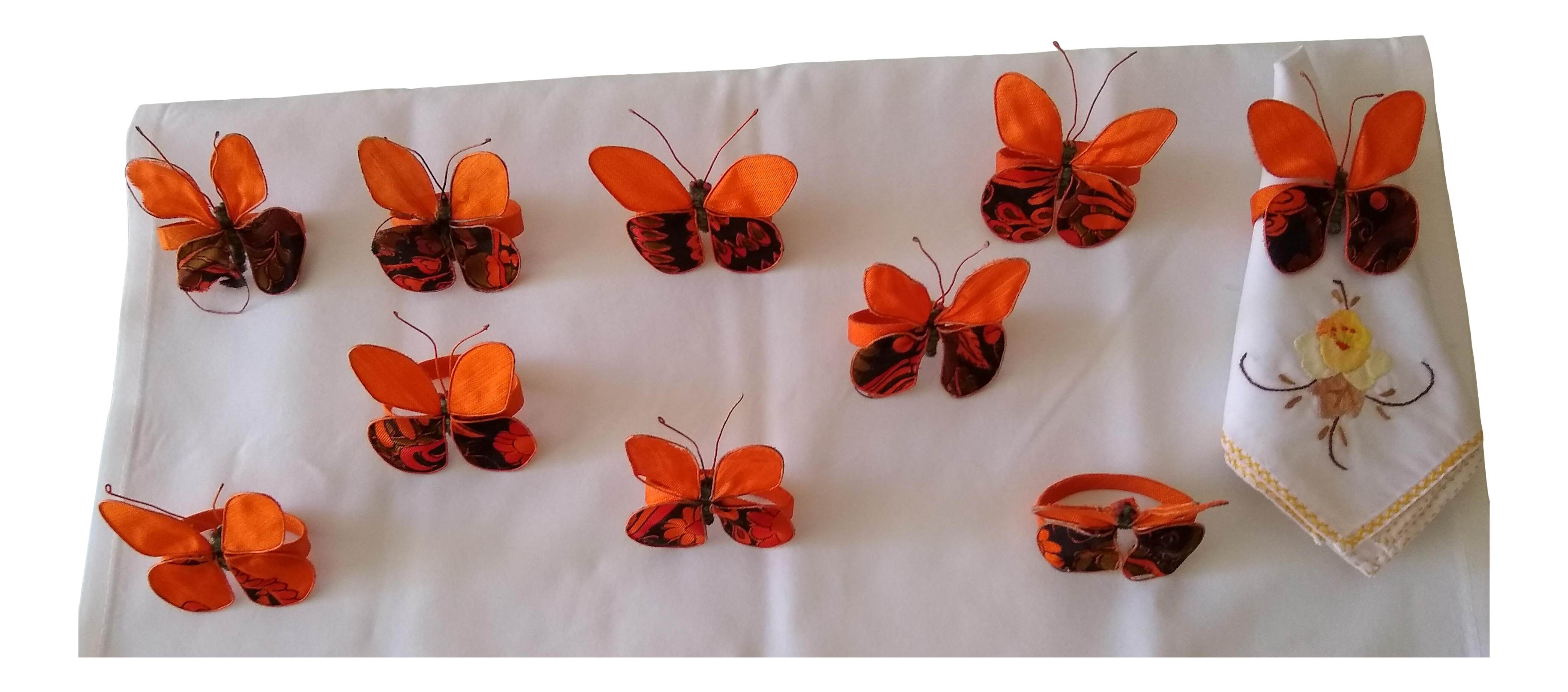 Vintage Set Of Ten Hand Painted On Silk Butterfly Napkin Rings Chairish