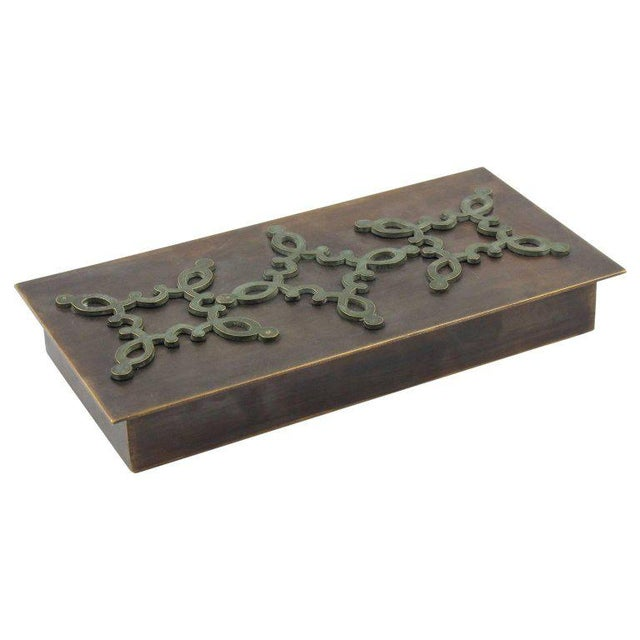 1940s French Modernist Decorative Lidded Brass Box For Sale - Image 9 of 9