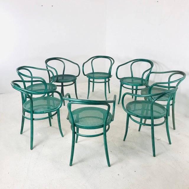 Set of 8 Thonet bentwood dining chairs with removable cushions. In good vintage condition with visible wear due to use....