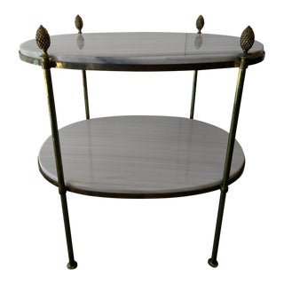 Mid-Century 2-Tiered Carrara Marble and Brass Oval Table For Sale