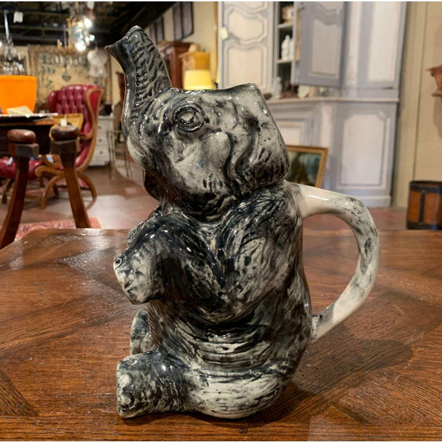 Late 19th Century 19th Century French Hand Painted Barbotine Ceramic Elephant Pitcher For Sale - Image 5 of 12
