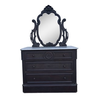 Late 19th Century Antique Victorian Marble Top Chest of Drawers With Mirror For Sale