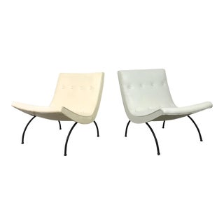 1950s Mid-Century Modern Milo Baughman White Upholstered Scoop Lounge Chairs - a Pair