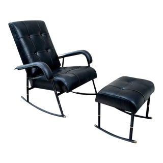 Jacques Adnet Rare Rocking Chair and Footstool in Black Hand-Stitched Leather For Sale