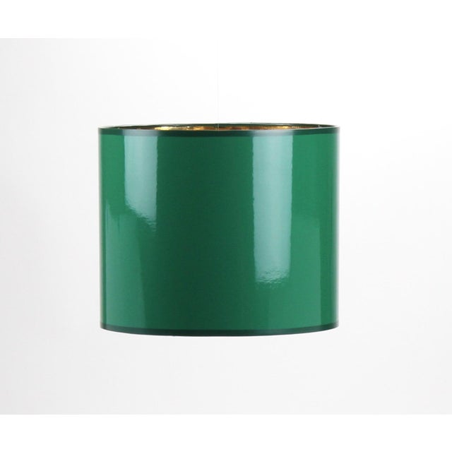 Brass Small High Gloss Emerald Green Drum Lampshade For Sale - Image 7 of 7