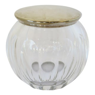 Cut Crystal & Silver Plate Jar For Sale