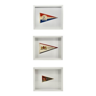 Vintage European Cruise Travel Flags Paris Group of 3 For Sale