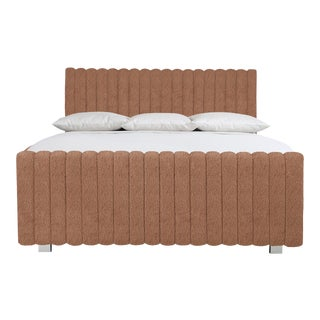 Bernhardt x Chairish Silhouette Panel Bed, Persimmon Boucle, Queen For Sale