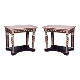 Pair of Russian Neoclassic Style Parcel Gilt Console Tables For Sale