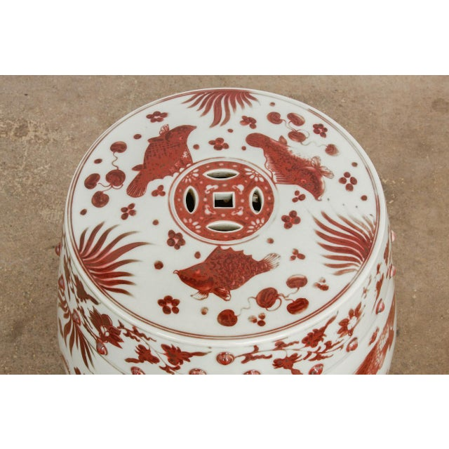 Red Chinese Ceramic Aquatic Life Garden Stools or Drink Tables - a Pair For Sale - Image 8 of 13