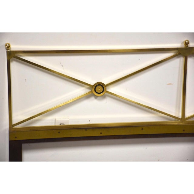 """A beautiful polished solid brass king size headboard made by Baker Furniture. 78"""" wide. 37.125"""" tall."""