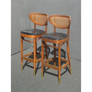 Vintage Mid Century Danish Modern Cane Black Barstools W Gold Foot Caps ~ a Pair Preview