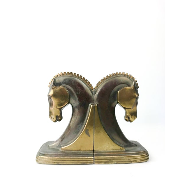1930s Vintage Art Deco Dodge Bronze Trojan Horse Bookends - a Pair For Sale - Image 10 of 10