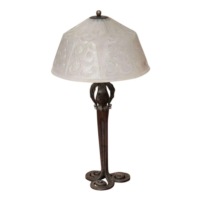 Art Deco Table Lamp by Edgar Brandt & Daum For Sale