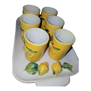 Mid-Century Majolica Italy Lemon Cello Serving Set for 6 With Tray For Sale