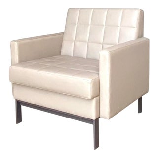 Contemporary Steelcase Quilted Leather Club Chair For Sale