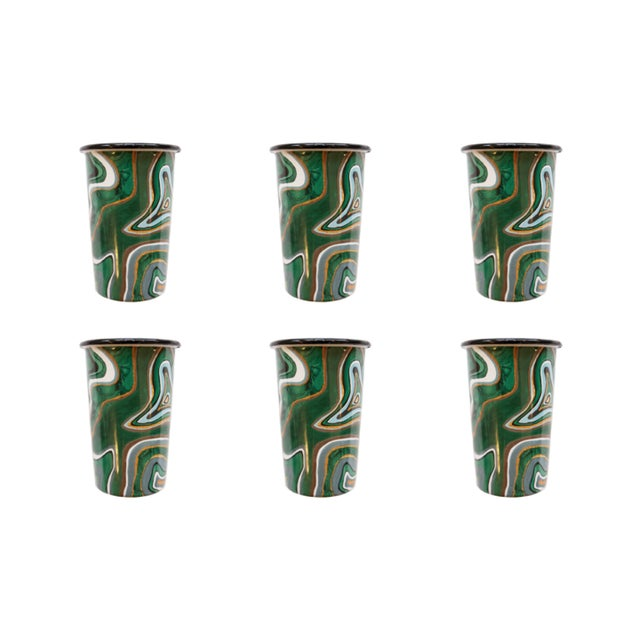 Contemporary Malachite Tumblers Set of 6 For Sale - Image 3 of 3