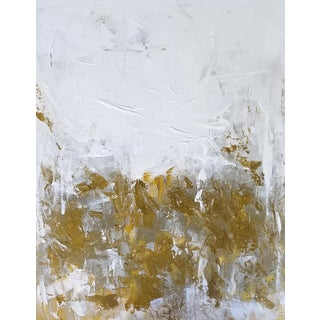 """""""Glint"""" Modern Abstract Original Bronze Gold White Metallic Painting For Sale"""
