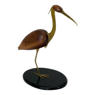 Crane Zbras and Walnut Table Top Sculpture by Bill Scott For Sale