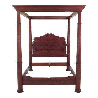 Kindel Queen Size Empire Mahogany Canopy Bed For Sale