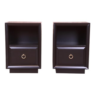 Robsjohn-Gibbings for Widdicomb Black Lacquered Nightstands, Newly Refinished For Sale