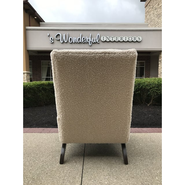 Linen Adrian Pearsell for Basset Mid-Century-Modern Lounge Chair Tufted Faux Fur Shearling For Sale - Image 8 of 10