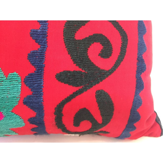 Large Vintage Colorful Suzani Embroidery Throw Pillow From Uzbekistan For Sale In Los Angeles - Image 6 of 10