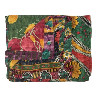 Rug & Relic Mixed Green Floral Print Kantha Quilt For Sale