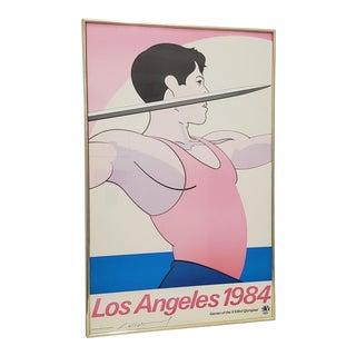 "1984 Los Angeles Olympics ""Javelin"" Signed Poster by John Van Hamersveld For Sale"