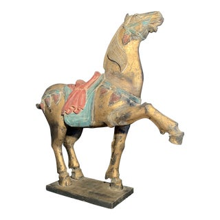 Early 20th Century Antique Chinese Tang Style Carved Wooden Horse For Sale