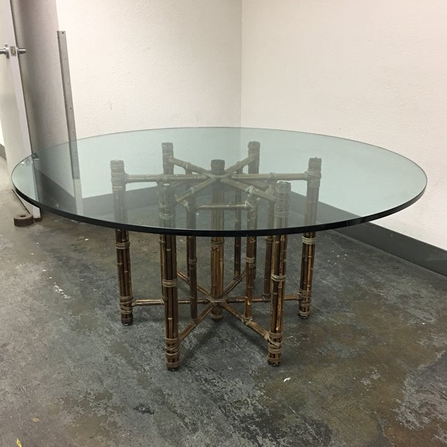 McGuire Bamboo & Glass Dining Table - Image 8 of 8