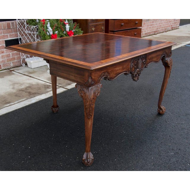 English 1900s English Traditional Mahogany Flip Top Console/Game Table For Sale - Image 3 of 4