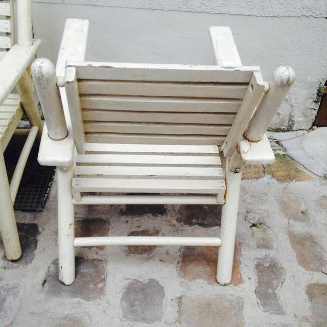 Wood French Riviera Beach House Pair of Lounge Chair For Sale - Image 7 of 8