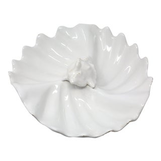 Vintage Italian Ceramic Scallop and Conch Shell Serving Platter or Bowl Made in Italy For Sale