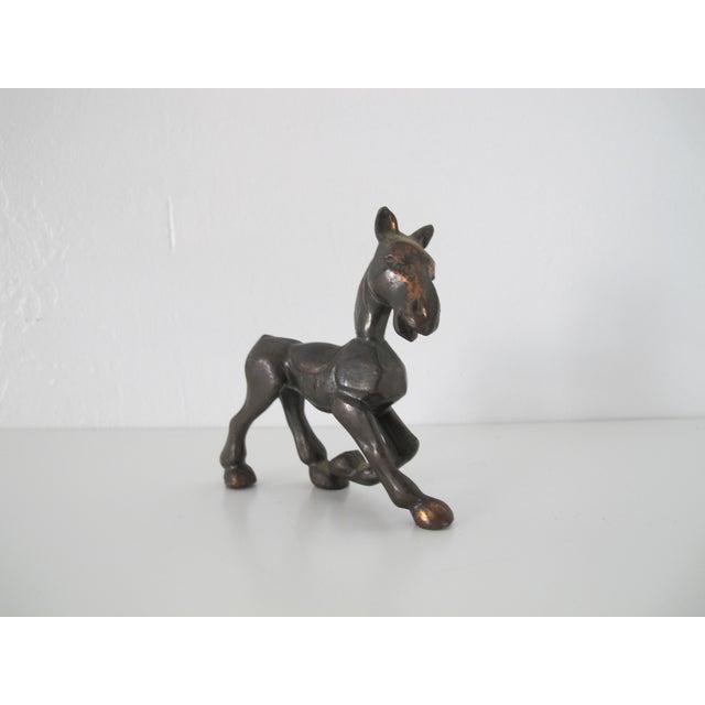 Mid-Century Brass Horse Figurine - Image 3 of 5