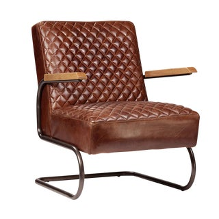 Vintage Quilted Leather Arm Chair For Sale
