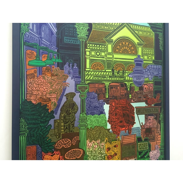 """Rare Vintage 1965 John Griffiths """"Covent Garden: Rhubard and Roses"""" Framed Lithograph Print London Transport Poster For Sale In Kansas City - Image 6 of 13"""