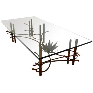 Hollywood Regency Brutalist Silas Seandel Bronze Lily Coffee Table For Sale