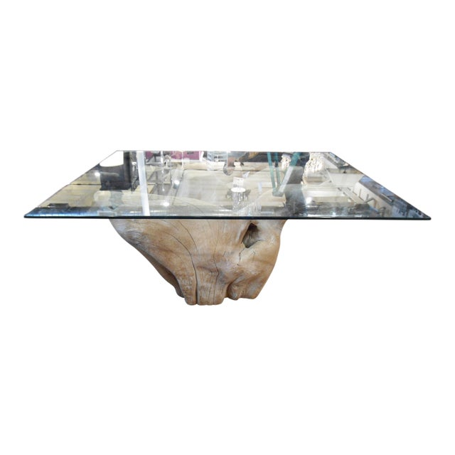 Michael Taylor Inspired Driftwood & Glass Pedestal Table - Image 1 of 7