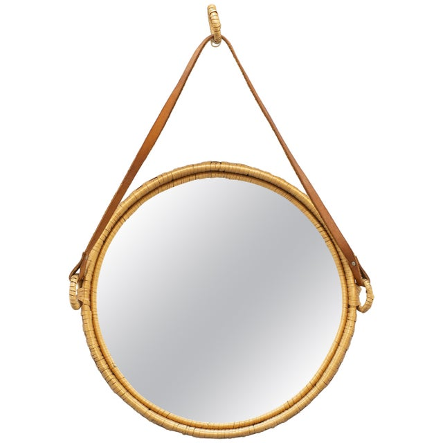 1960s Mirror, Rattan, Sweden 1960s For Sale - Image 5 of 5