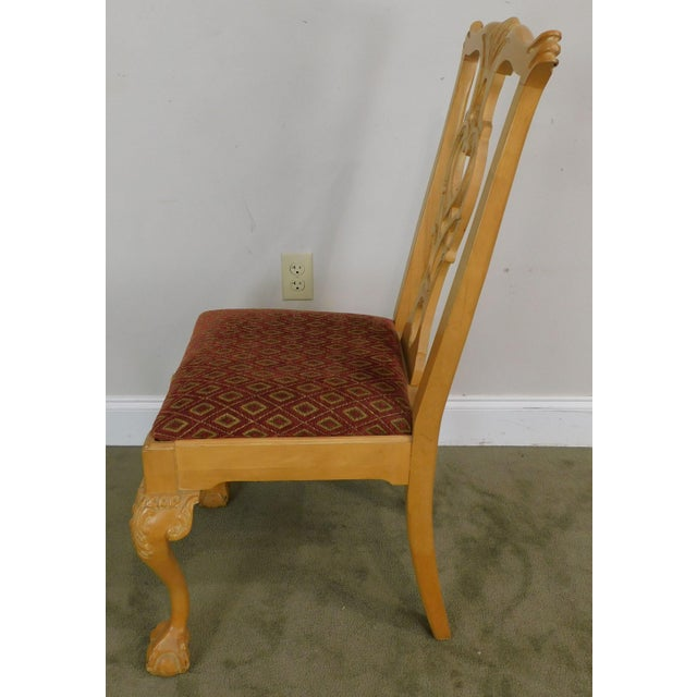 Wood Lexington Solid Pine Chippendale Style Ball & Claw Carved Pair Side Chairs For Sale - Image 7 of 13