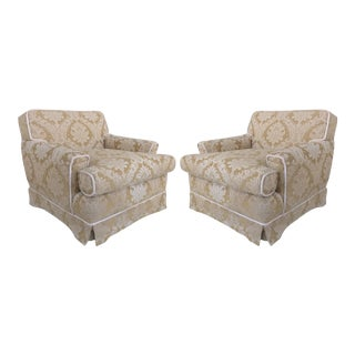 Damask Down-Filled Cushion, Skirted Bottom & Rope Trim Club Chairs - a Pair