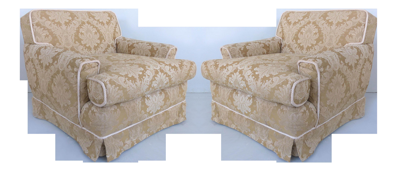 Damask Down Filled Cushion, Skirted Bottom U0026 Rope Trim Club Chairs   A Pair
