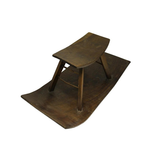 Village Wood Rocking Sliding Stool Chair | Chairish
