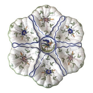 1940s French Faience Oyster Plate With Bird Moustiers Style For Sale