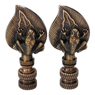 Antiqued Brass Lamp Finials - a Pair For Sale