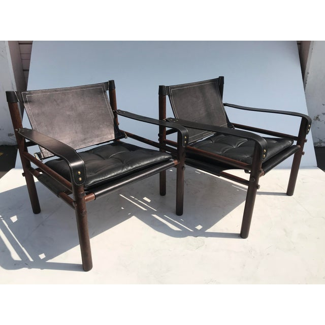 """Pair Arne Norell Black """"Sirocco"""" Safari Chairs - Image 11 of 11"""