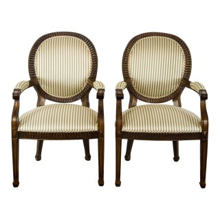 19th C. Louis XVI Style Medallion Arm Chairs by Kreiss Collection - a Pair For Sale