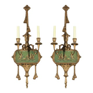 Mid 19th Century Adams Style Painted Wall Sconces For Sale