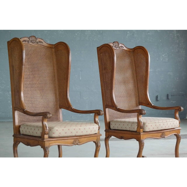 Pair of 1920s Hollywood Regency Cane Wingback Chairs For Sale - Image 4 of 10